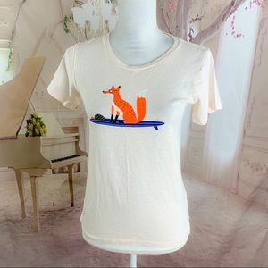 J CREW Collector Fox Print Cotton Tee Shirt